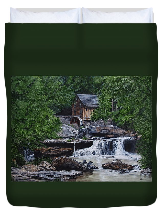 Grist Mill Duvet Cover featuring the painting Scenic Grist Mill by Vicky Path