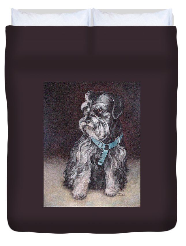 Nature Duvet Cover featuring the painting Schnauzer by Donna Tucker