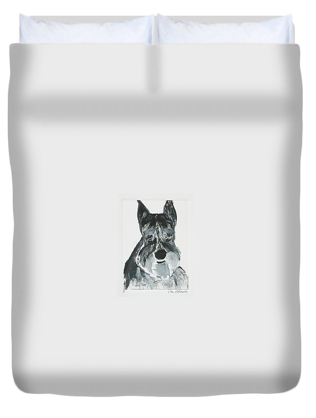 Dog Duvet Cover featuring the mixed media Schnauzing Around by Cori Solomon