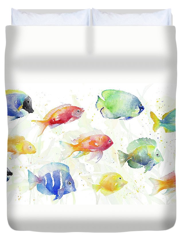 School Duvet Cover featuring the painting School Of Tropical Fish by Lanie Loreth