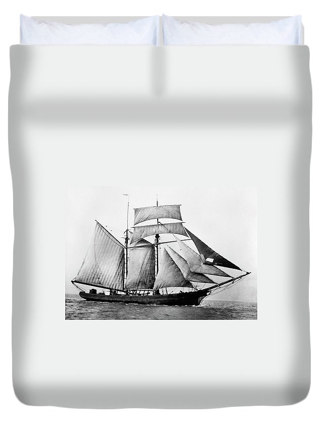 1888 Duvet Cover featuring the photograph Schooner, 1888 by Granger