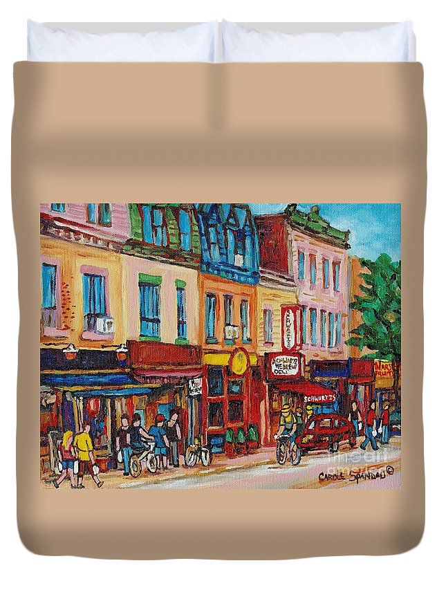 Schwartz Deli Duvet Cover featuring the painting Schwartzs Deli And Warshaw Fruit Store Montreal Landmarks On St Lawrence Street by Carole Spandau