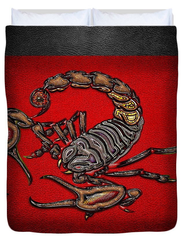 'beasts Creatures And Critters' Collection By Serge Averbukh Duvet Cover featuring the digital art Scorpion On Red And Black Leather by Serge Averbukh