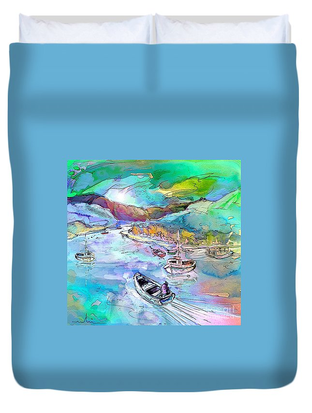 Scotland Duvet Cover featuring the painting Scotland 24 by Miki De Goodaboom