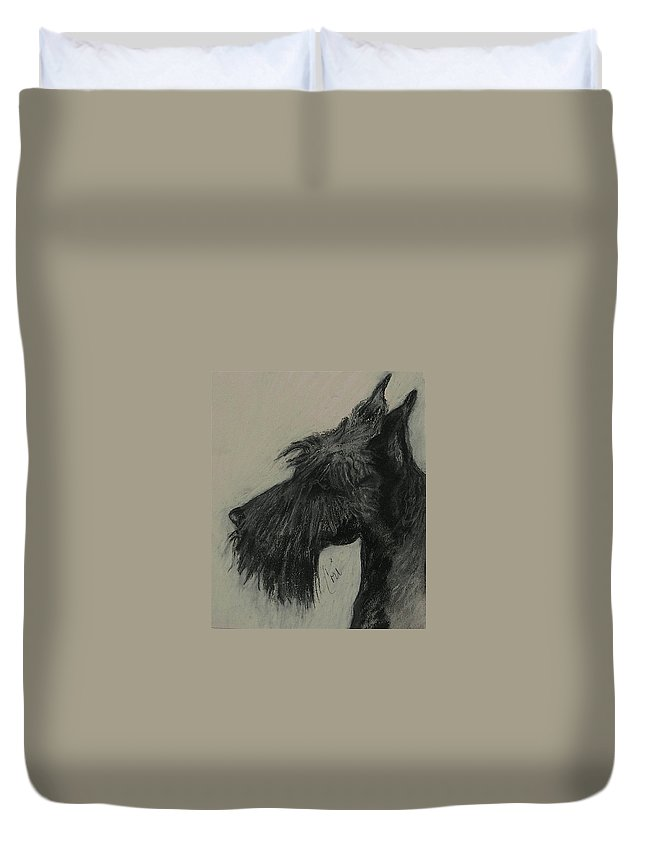 Drawing Duvet Cover featuring the drawing Scottish Delight by Cori Solomon