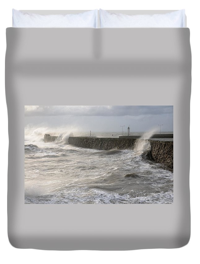 Storm Duvet Cover featuring the photograph Scottish Sea Storm by Jeremy Voisey