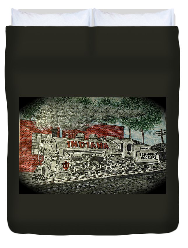 Scrapping Hoosiers Duvet Cover featuring the painting Scrapping Hoosiers Indiana Monon Train by Kathy Marrs Chandler