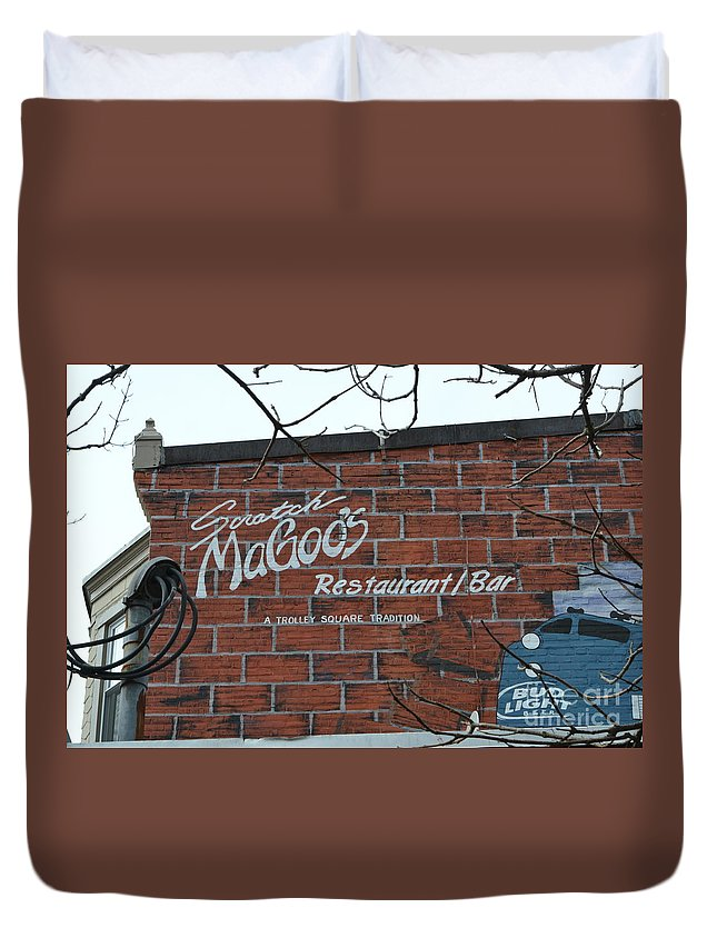 Scratch Magoo's Duvet Cover featuring the photograph Scratch Magoo's Wilmington De by Heather Jane