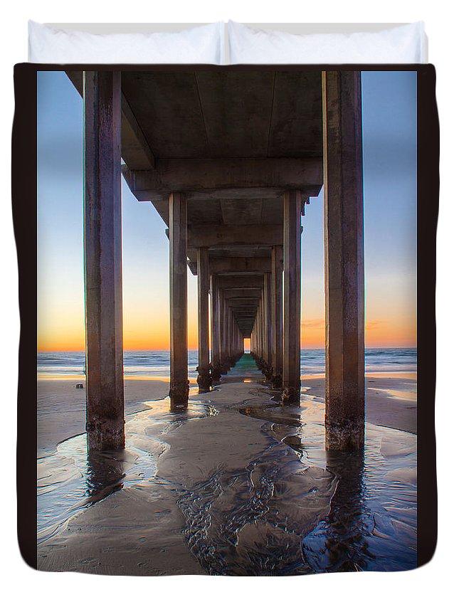 Pier Duvet Cover featuring the photograph Scripps Pier #1 by Lauri Novak