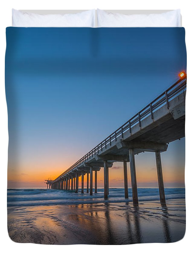 Michael Ver Sprill Duvet Cover featuring the photograph Scripps Pier by Michael Ver Sprill