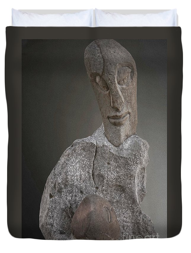Heiko Duvet Cover featuring the photograph Sculpture In Stone by Heiko Koehrer-Wagner