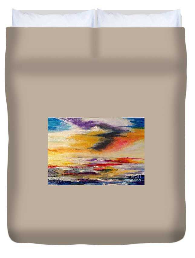 Sea Duvet Cover featuring the painting Sea And Sky V by Karen Ferrand Carroll