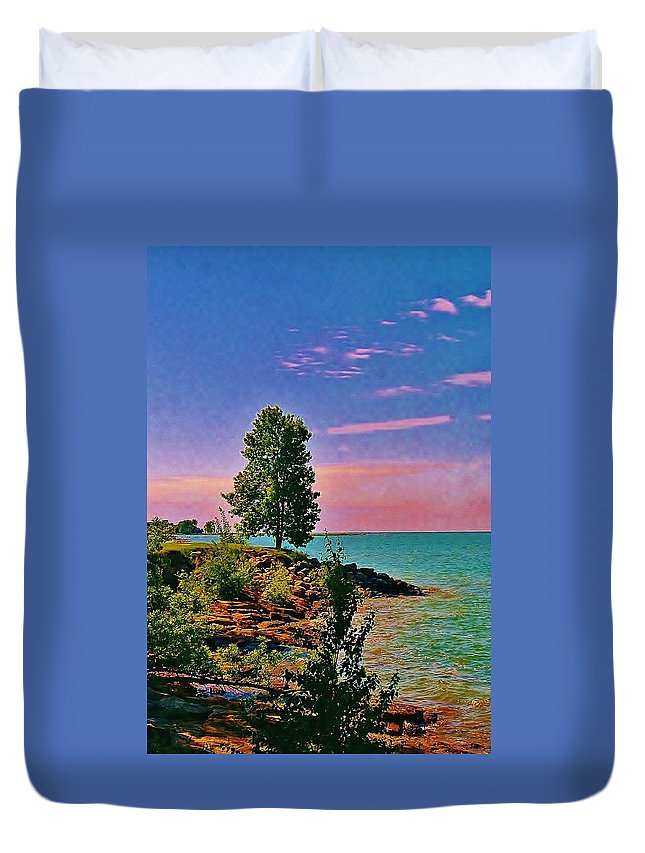 Laake Huron Duvet Cover featuring the photograph Sea And Tree by Daniel Thompson