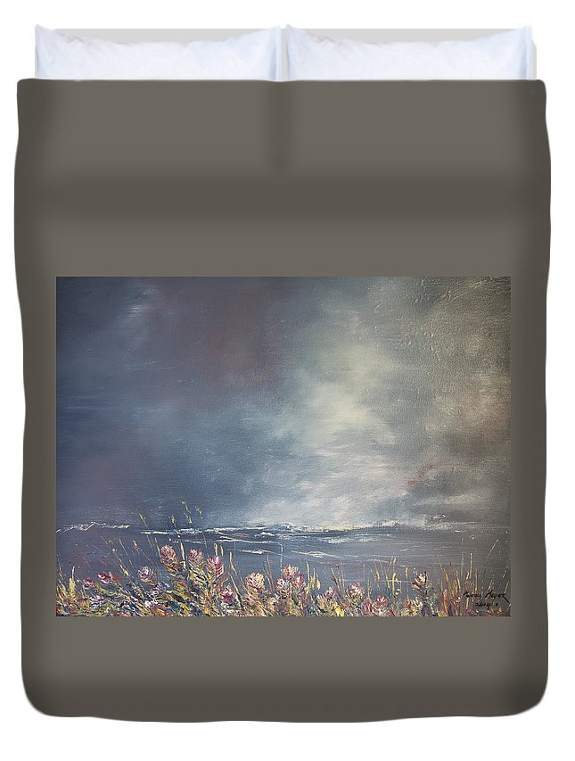 2014 Duvet Cover featuring the painting Sea Breeze Fynbos by Melanie Meyer