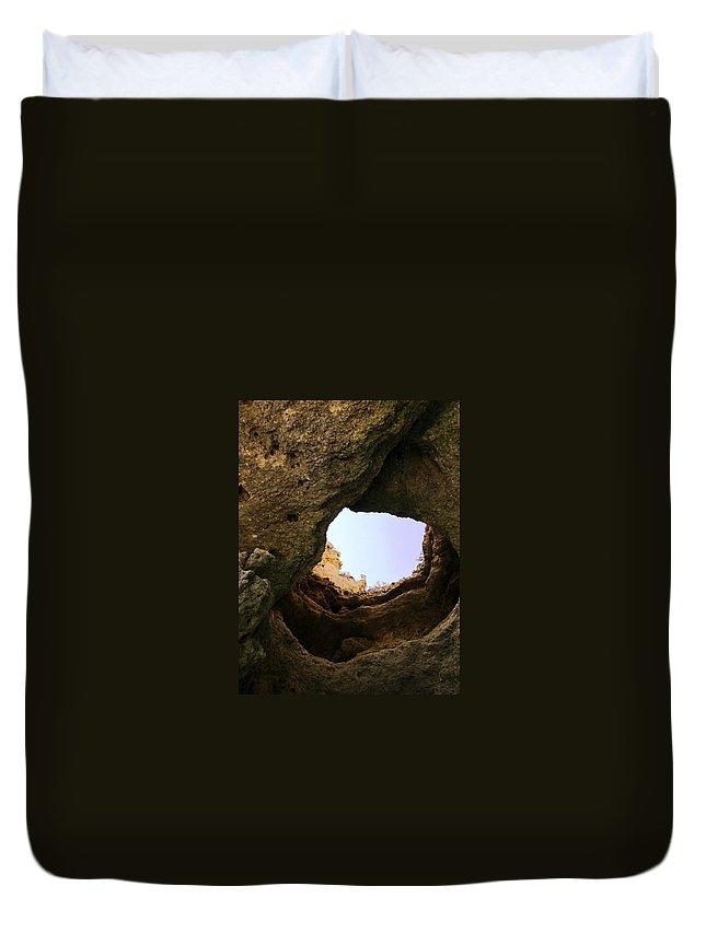 Portugal Duvet Cover featuring the photograph Sea Cave Escape by Teresa Ruiz
