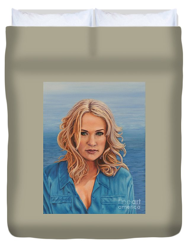 Portrait Duvet Cover featuring the painting Carrie's Sea Cruise by Guy C Lockwood