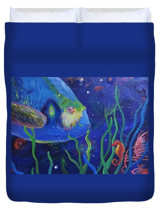 Fish Duvet Cover featuring the painting Sea Horse And Blue Fish by Anne Marie Brown