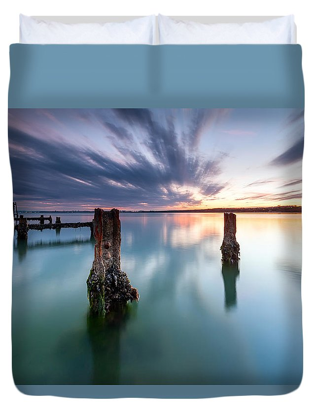 Black Sea Duvet Cover featuring the photograph Sea Like A Glass by Evgeni Dinev