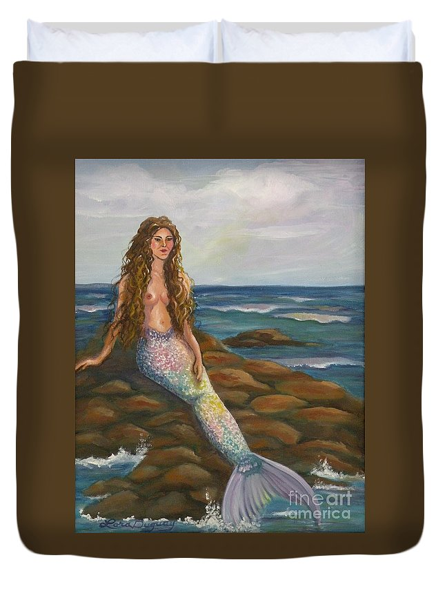 Mermaid Duvet Cover featuring the painting Sea Maiden by Lora Duguay