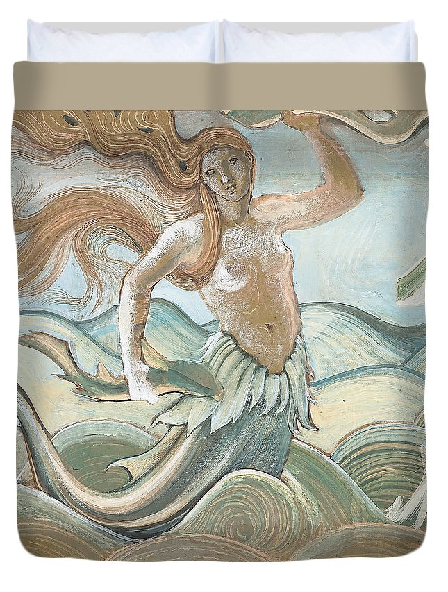 Mermaid Duvet Cover featuring the painting Sea Nymph by Sir Edward Coley Burne-Jones