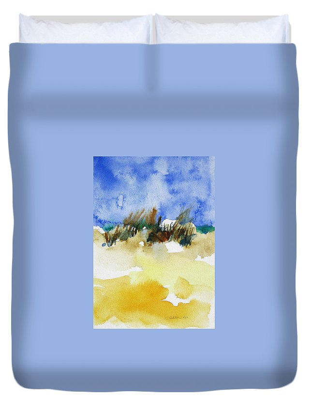 Art Duvet Cover featuring the painting Sea Oats by Julianne Felton