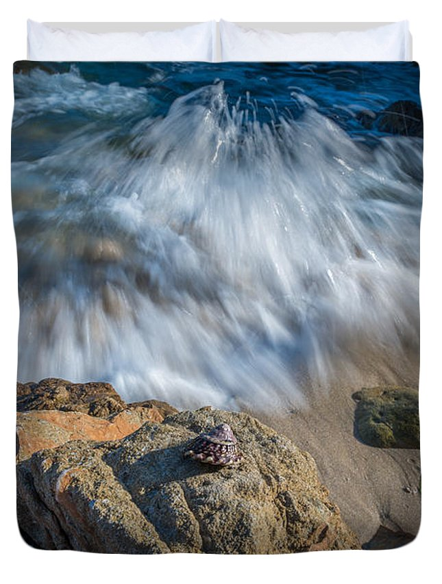Rushing Water Duvet Cover featuring the photograph Sea Shell by Michael Ver Sprill