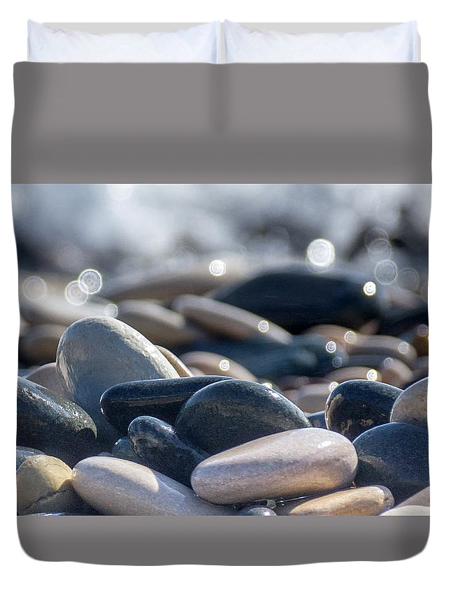 Abstract Duvet Cover featuring the photograph Sea Stones by Stelios Kleanthous
