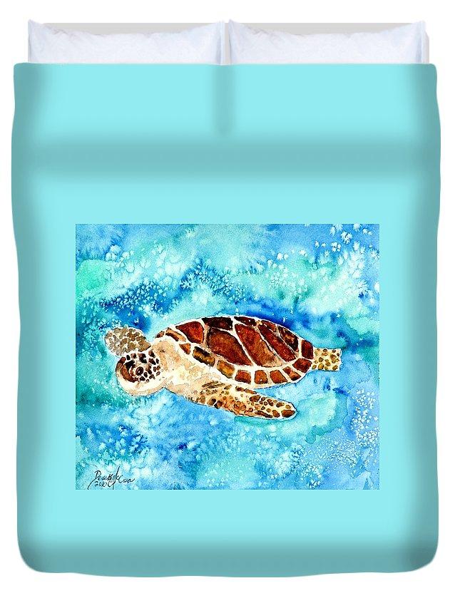 Sea Turtle Duvet Cover featuring the painting Sea Turtle by Derek Mccrea