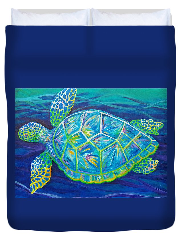 Sea Turtle Duvet Cover featuring the painting Sea Turtle I by Anne Marie Brown