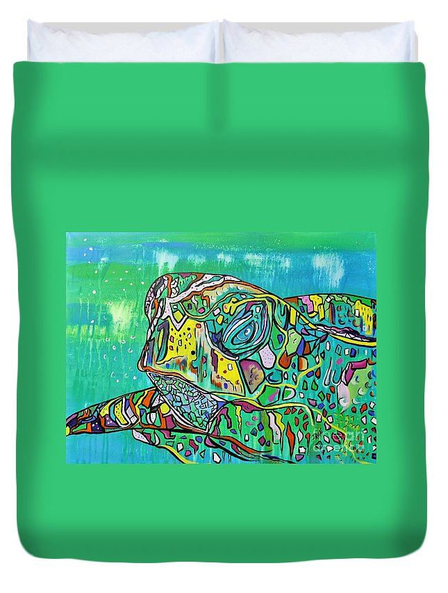 Original Duvet Cover featuring the painting Sea Turtle Sam by Janice Pariza