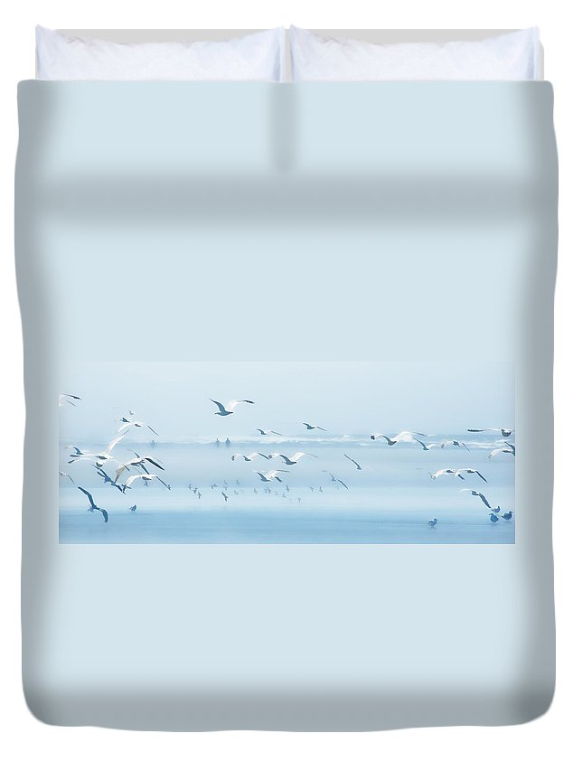 Copalis Beach Duvet Cover featuring the photograph Seabirds And Silhouettes by Allan Van Gasbeck