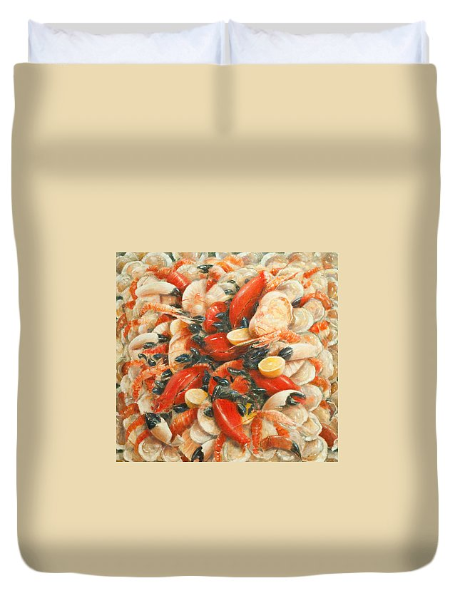 Fish; Lemon; Claws; Crab; Scallops; Shellfish; Prawn; Lobster; Crayfish; Abundance; Food; Atmospheric; Photorealist; Still Life Duvet Cover featuring the painting Seafood Extravaganza by Lincoln Seligman