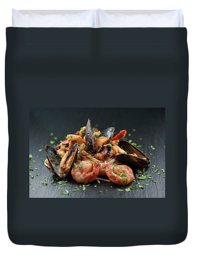 Prawn Duvet Cover featuring the photograph Seafood Pasta by Cbording