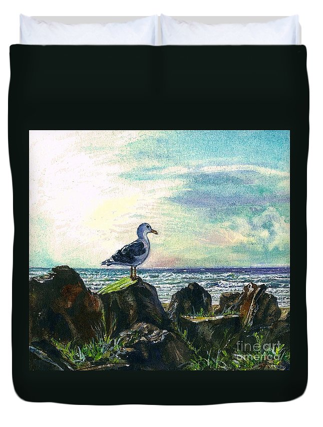Cynthia Pride Watercolor Painting Duvet Cover featuring the painting Seagull Lookout by Cynthia Pride
