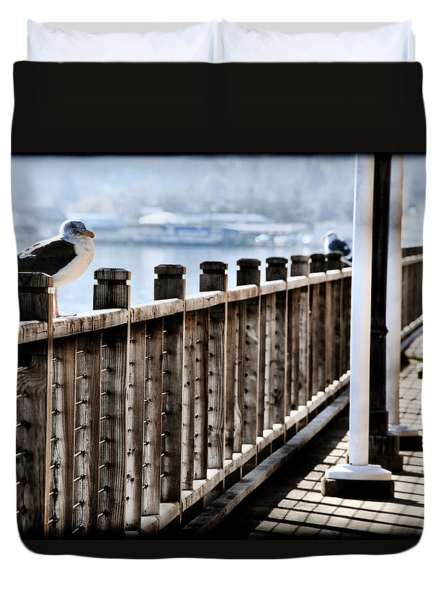 Coos Bay Duvet Cover featuring the photograph Seagull On The Boardwalk by Sally Bauer