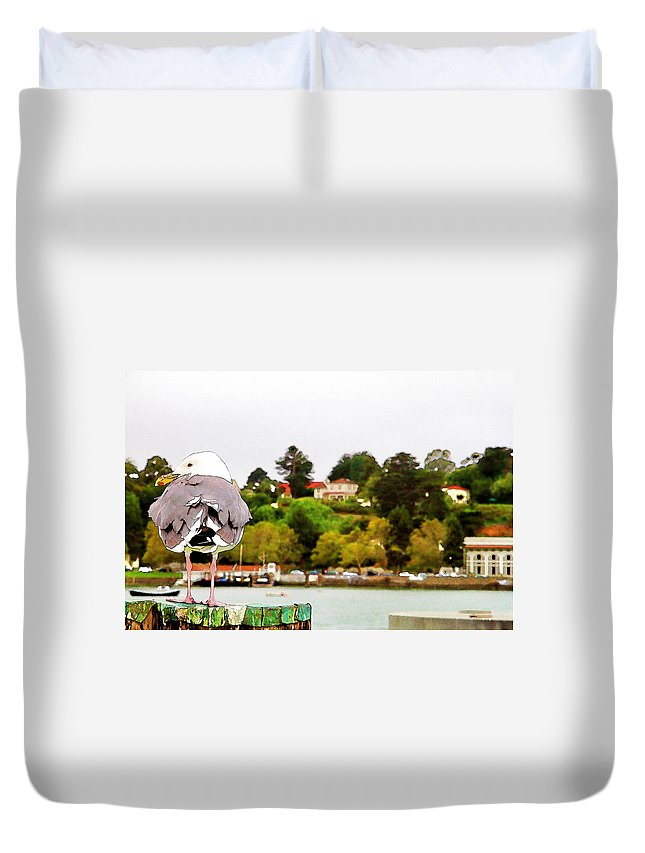 Seagull Water Scenic Bird Duvet Cover featuring the photograph Seagulls View by Alice Gipson