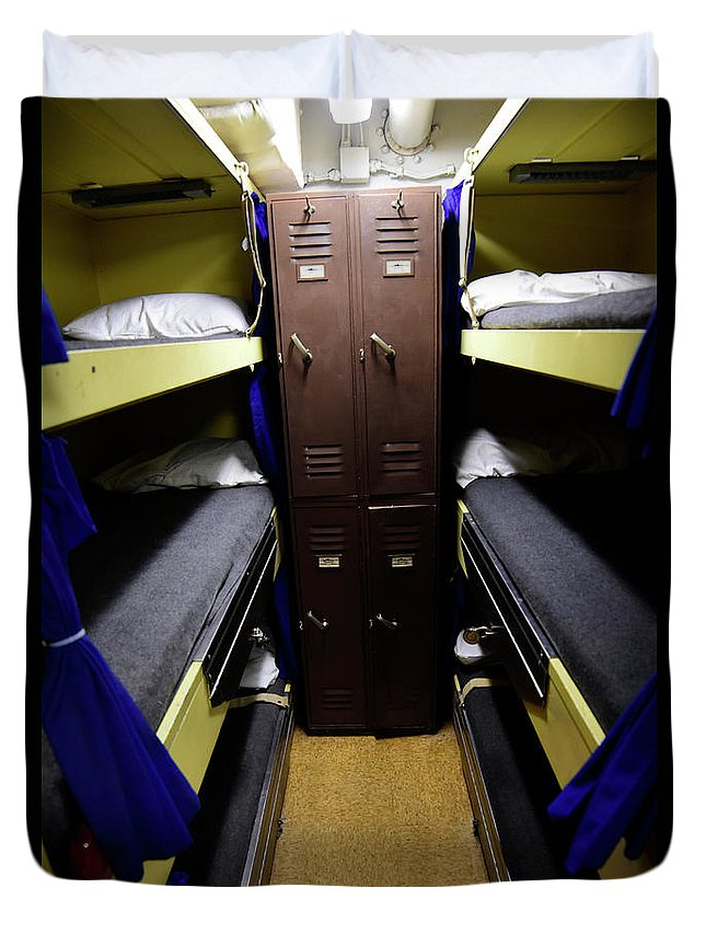 Vertical Duvet Cover featuring the photograph Seaman Lockers And Bunks Aboard Uss by Stocktrek Images