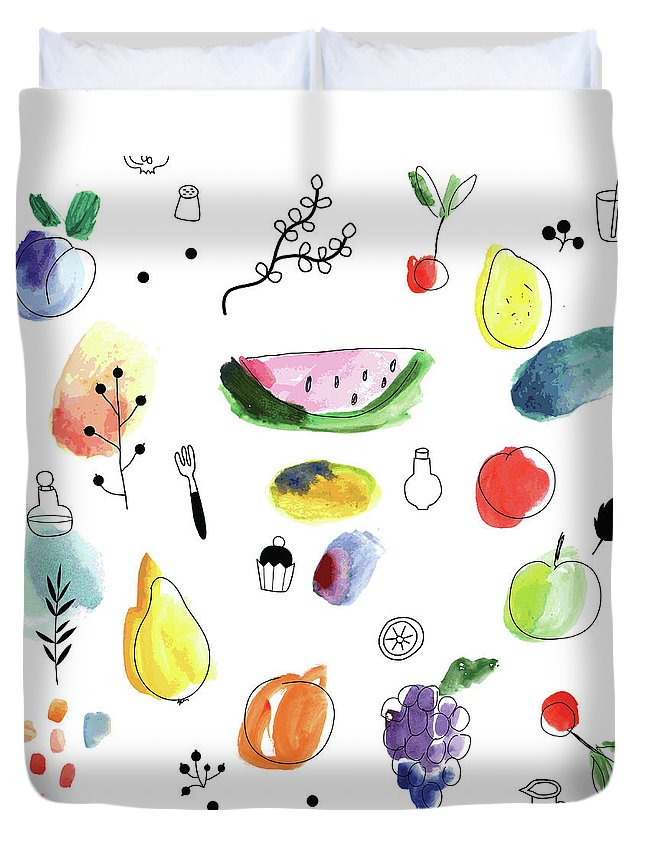 Cherry Duvet Cover featuring the digital art Seamless Pattern With Fruits, Berries by Loliputa