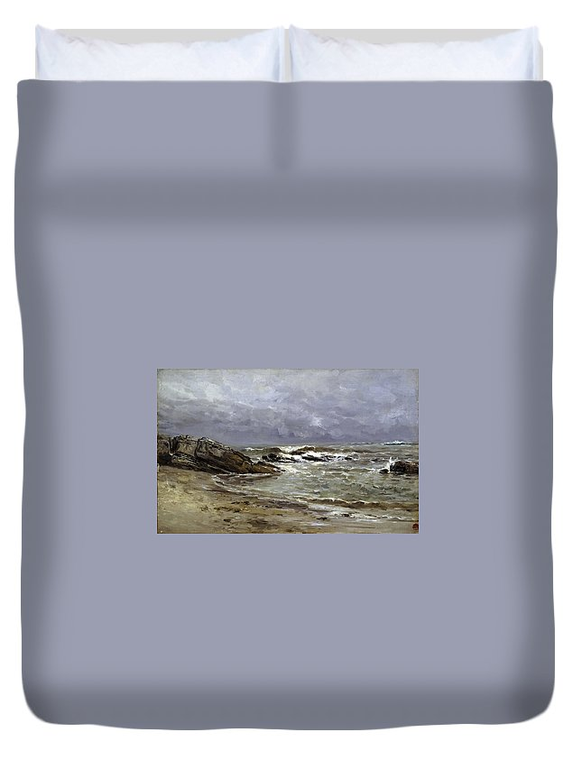 Carlos De Haes Duvet Cover featuring the painting Seascape by Carlos de Haes