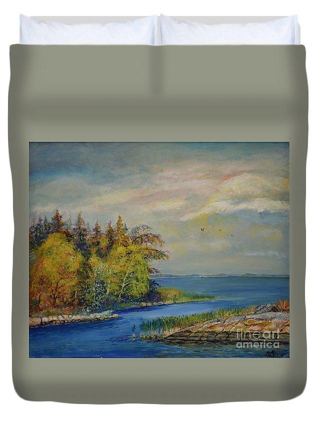 Raija Merila Duvet Cover featuring the painting Seascape From Hamina 3 by Raija Merila