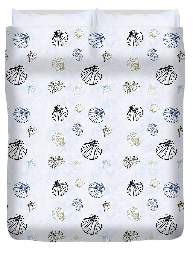Seashell Duvet Cover featuring the mixed media Seashell Pattern by Christina Rollo