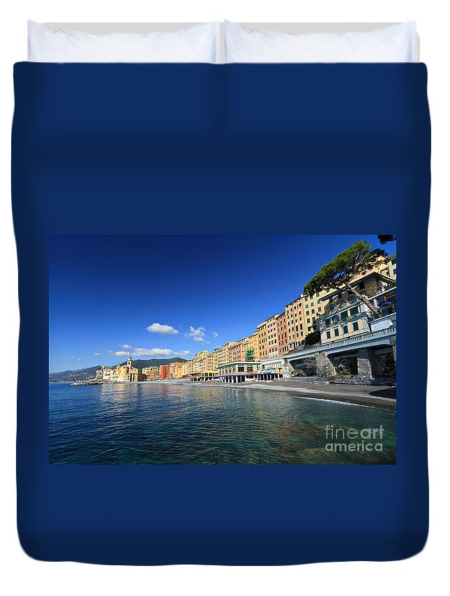 Ancient Duvet Cover featuring the photograph seaside in Camogli by Antonio Scarpi