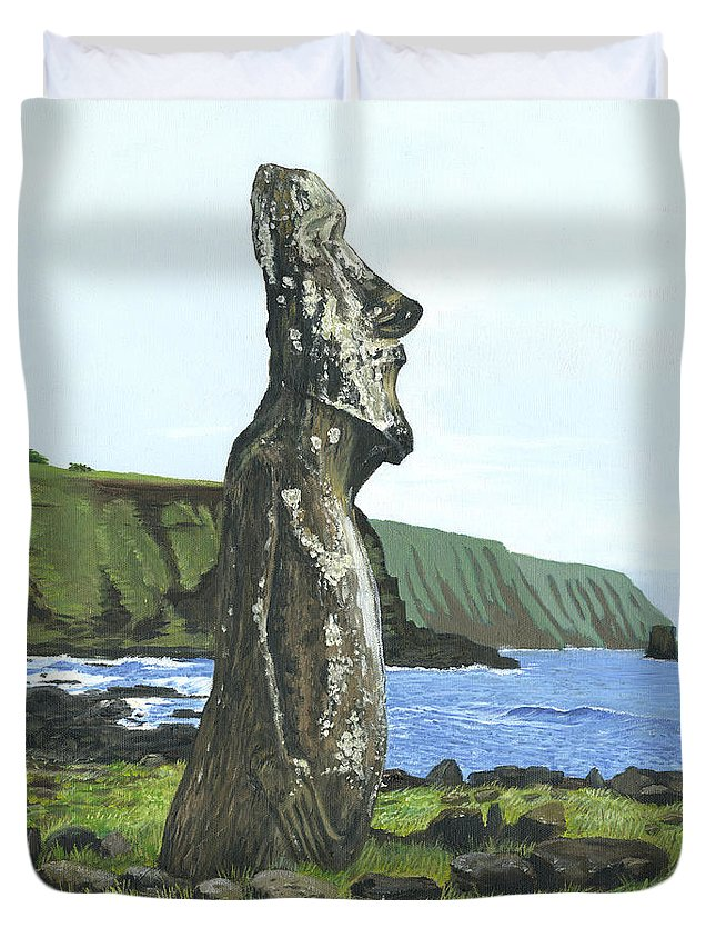 Easter Island Duvet Cover featuring the painting Seaside Moai by Brent Charbonneau