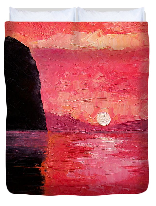 Landscape Duvet Cover featuring the painting Seaside Sunset by Sergey Bezhinets