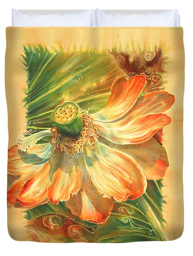 Flower Duvet Cover featuring the painting Season's End by Deborah Younglao