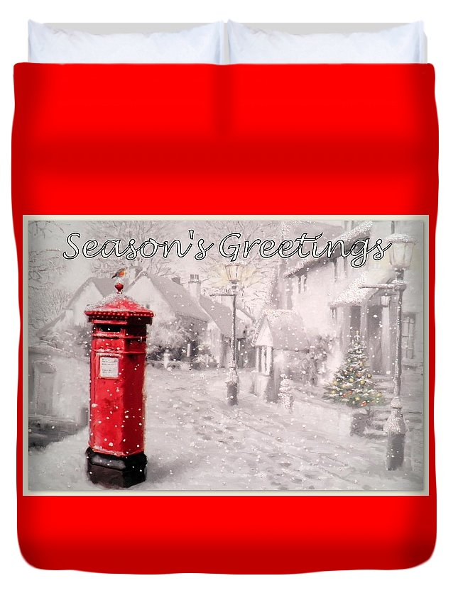 Postbox Duvet Cover featuring the digital art Season's Greetings by The Creative Minds Art and Photography