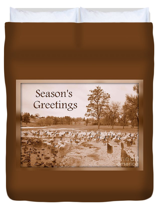 Season's Greetings Card Duvet Cover featuring the photograph Season's Greetings - Winter Pond by Carol Groenen