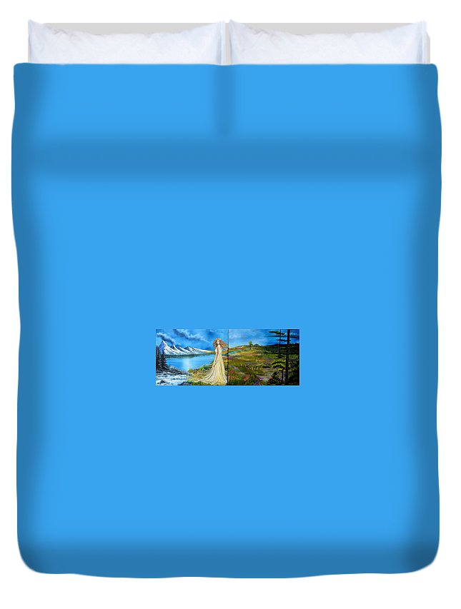 Woman Duvet Cover featuring the painting Seasons by Jody Poehl