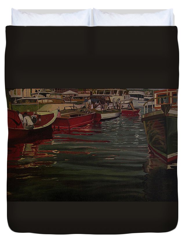 Seattle Boats Show Duvet Cover featuring the painting Seattle Boat Show by Thu Nguyen