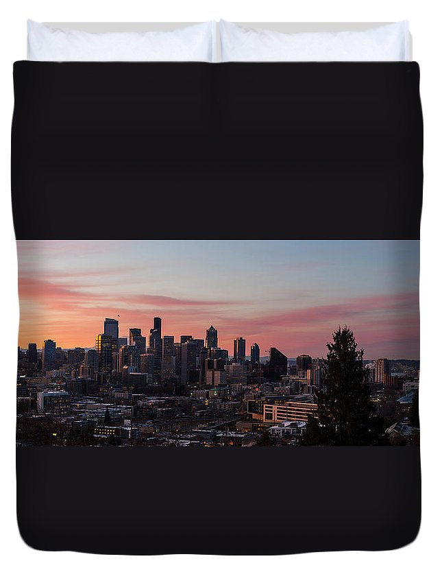 Seattle Duvet Cover featuring the photograph Seattle Cityscape Sunrise by Mike Reid